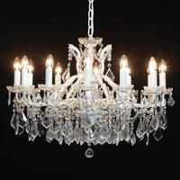 White Shallow Chandelier 12 Branch French Design
