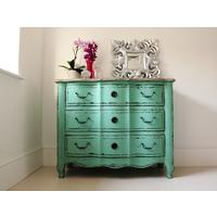 Turquoise Chest Of Drawers Three Drawer Vintage Design