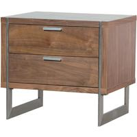 Two Drawer Walnut Retro Bedside Table