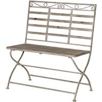 Washed Metal Garden Bench