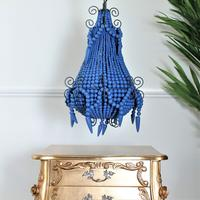 Royal Blue Beaded Chandelier