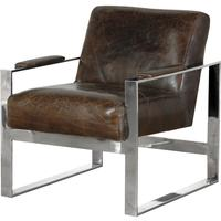 Magnum Square Back Brown Leather and Steel Armchair