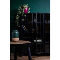 Double Metal Display Cabinet Black Distressed Design