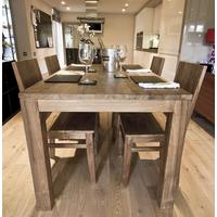 The 'Pusuk' Reclaimed Dining Set and 4 Wooden Chairs