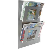 Double Tier Wall Mounted Metal Magazine Rack - Metallic Silver
