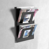 Double Tier Wall Mounted Metal Magazine Rack - Black