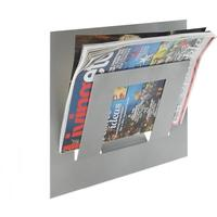 Single Tier Wall Mounted Metal Magazine Rack - Metallic Silver by The Metal House