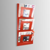 Triple Tier Wall Mounted Metal Magazine Rack - Red