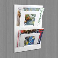 Double Tier Wall Mounted Metal Magazine Rack - White