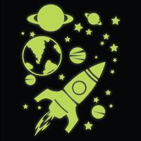 Glow in the Dark Rocket, Planets and Stars Wall Stickers by Red Candy