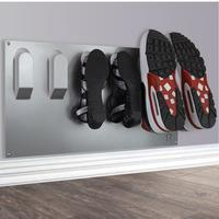 Horizontal Wall Mounted Metal Shoe Rack - Metallic Silver by The Metal House