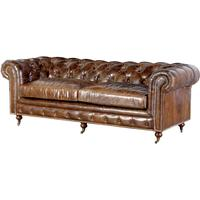Vintage Three Seater Leather Chesterfield