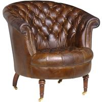 Vintage Leather Studded Club Chair