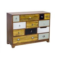 British Vintage 12 Drawer Chest with Different Colours by BBE Furnishings