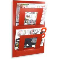 Double Tier Wall Mounted Metal Magazine Rack - Red by The Metal House