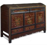 Antique Mongolian Painted Trunk by Shimu