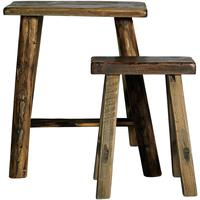 Narrow Wooden Stools - Set of Two by Out There Interiors