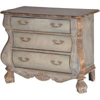 Distressed Black Three Drawer Chest Chunky French-Style