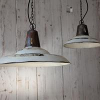 Industrial Hanging Lamp in White by Out There Interiors