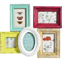 Multicoloured Combination 5 Photo Frame - Distressed