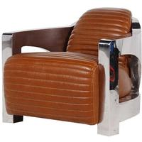 Brown Leather Club Chair with Aluminium Frame