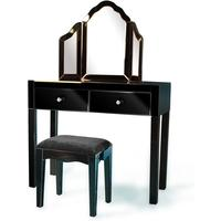 Black Mirrored Dressing Table Set