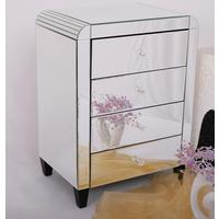 Four Drawer Mirrored Bedside Table