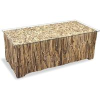 Driftwood Rectangular Coffee Table w Glass Top by BBE Furnishings