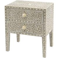 Bone Inlay Two Drawer Bedside