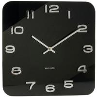 Karlsson Vintage Square Glass Clock - Black by Red Candy