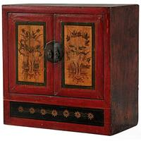 Mongolian Painted Two Door Cabinet by Shimu