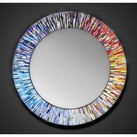 Roulette PIAGGI multicolour glass mosaic round mirror by Piaggi