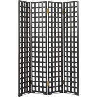 Carved Lattice Screen, Black Lacquer by Shimu