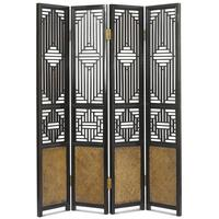 Carved Ming Screen, Black Lacquer by Shimu