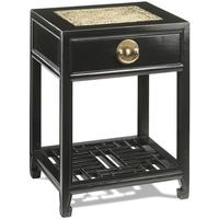 Carved Side Table, Black Lacquer by Shimu