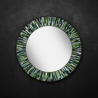 Roulette PIAGGI green glass mosaic round mirror by Piaggi