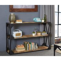 Vintage Industrial Metal and Wood TV Stand Console Table