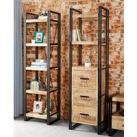 Upcycled Industrial Mintis Narrow Bookcase with 3 Drawers  by Verty furniture