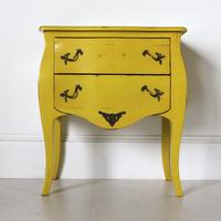 French Two Drawer Bedside Table Yellow with Brass Handles