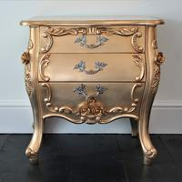 French Three Drawer Bedside Baroque Gold Leaf