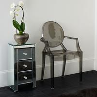 Narrow Mirrored Bedside Table 3 drawers