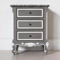 French Three Drawer Ornate Bedside Distressed Grey