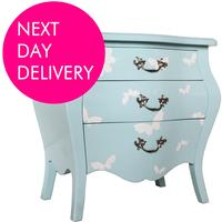 French Three Drawer Bombe Bedside with Butterfly Design
