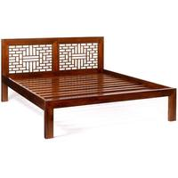 Ming Carved Bed, Warm Elm by Shimu