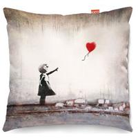 Banksy Heart Balloon Sofa Cushion - 2 Sizes by Red Candy