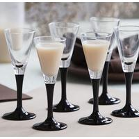 Set of 6 Black Stem Liqueur Glasses