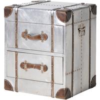 Two Drawer Metal Bedside with Straps