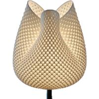 Tulip Table Lamp - Rippled White 40cm