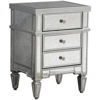 Antique Venetian Three Drawer Bedside Table with Silver Tr