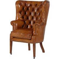 Leather Buttoned Armchair